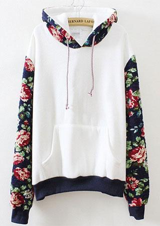 Loose Splice Floral Printed Hoodie