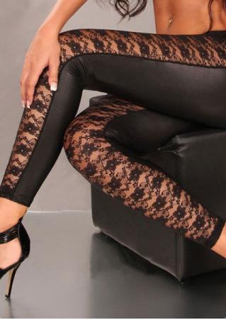 Lace Splicing Faux Leather Leggings