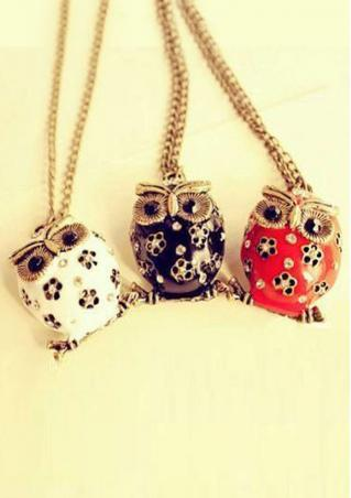 Hollow Drip Owl Sweater Necklace