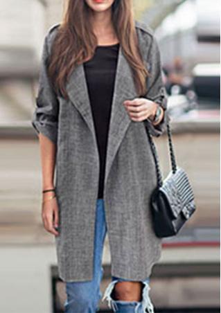Lapel Long Sleeve Coat