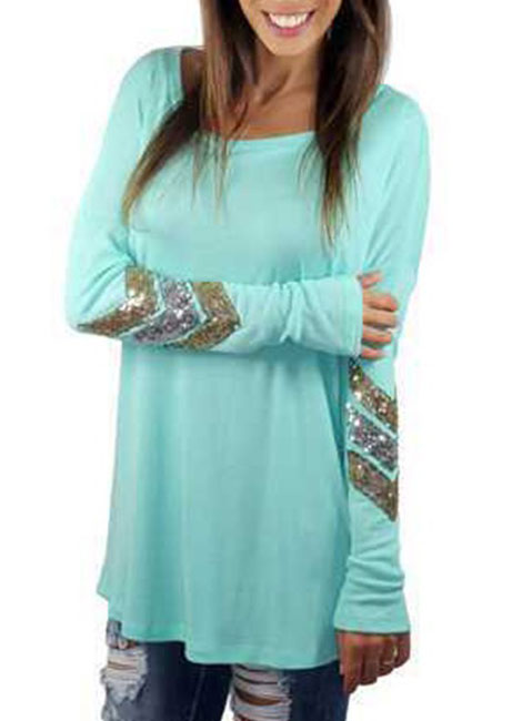 round neck sequined long sleeve blouse
