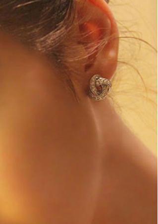 Twisted Rhinestone Stud Earrings