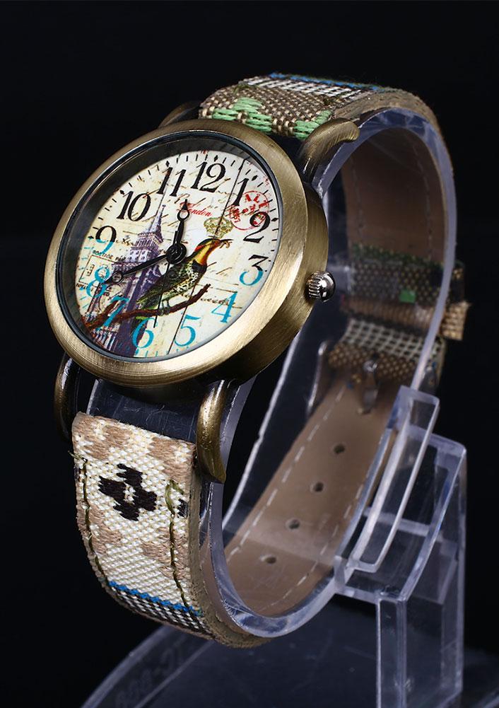 Flower Print Denim Strap Wristwatch
