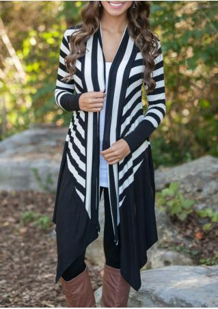 Long Sleeve Irregular Striped Cardigan