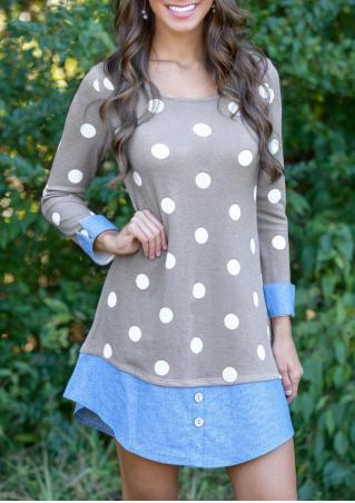 Polka Dot Patchwork Mini Dress