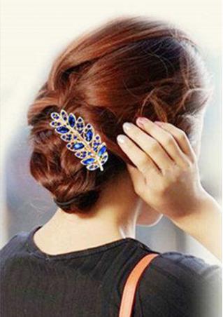 Crystal Rhinestone Leaf Barrette Hairclip
