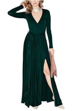 Split Long Sleeve V Neck Dress Without Necklace