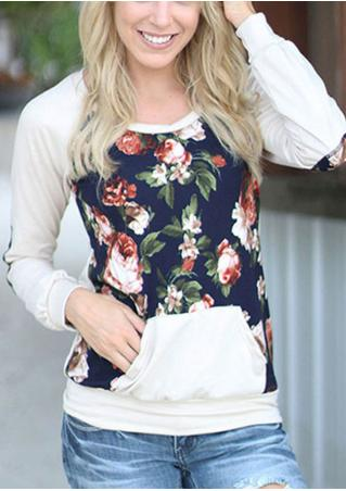 Floral Crewneck Long Sleeve Casual Pullover