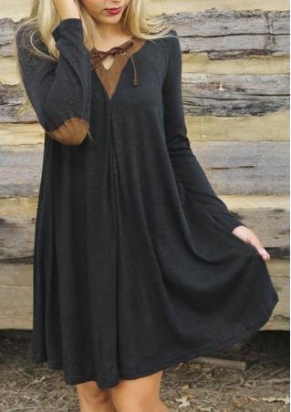 Splicing Mini V Neck Dress