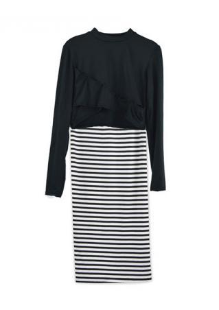 Striped Long Sleeve Two-Piece Dress