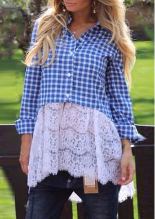 Splicing Lace Long Sleeve Irregular Casual Shirt