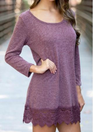 Lace Splicing Solid Mini Dress