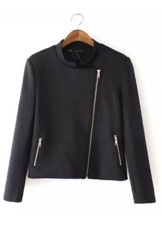 Zip Solid Long Sleeve Jacket