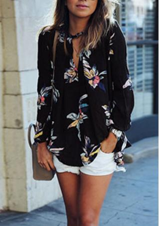 Floral Long Sleeve Chiffon Casual Shirt