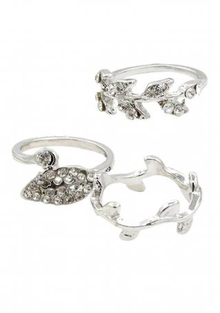 3pcs/Set Leaves Diamonds Rings