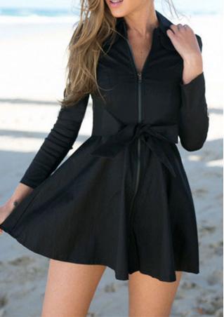 Zipper Solid Long Sleeve Long Coat