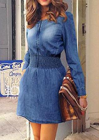 Denim A-Line Solid Long Sleeve Mini Dress