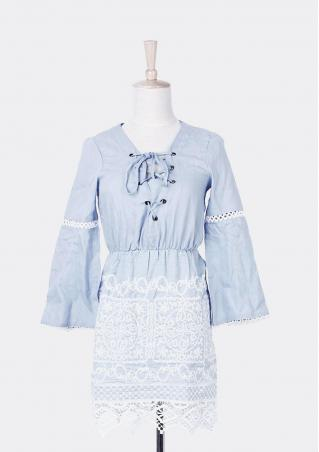 Lace Denim Cross Flare Sleeve Mini Dress