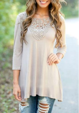 Lace Solid Crewneck Casual Mini Dress