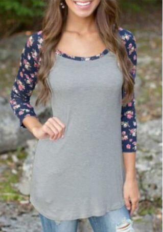 Floral O-Neck Long Sleeve Casual Blouse