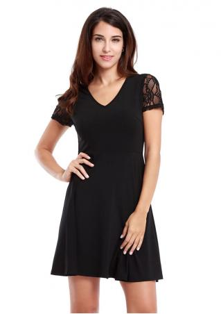 Vessos Lace Sexy Short Sleeve Mini Dress