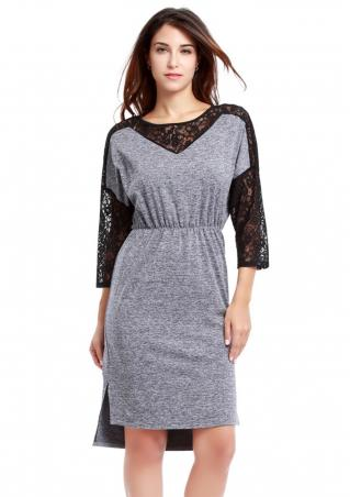 Hollow Out Lace Splicing Dress