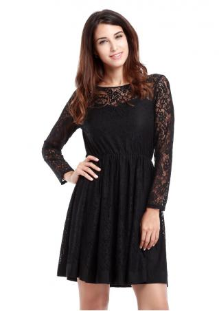 Lace Long Sleeve Solid Mini Dress