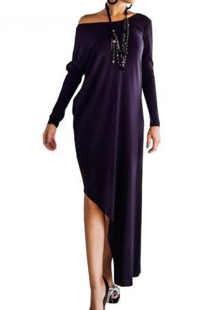 Irregular Solid Off Shoulder Long Dress Without Necklace