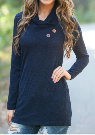 Solid Button Long Sleeve Casual Sweater