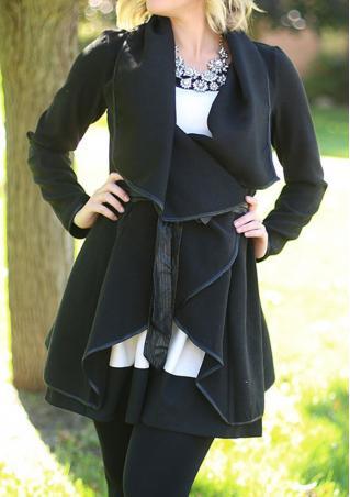 Lapel Irregular Solid Color Coat