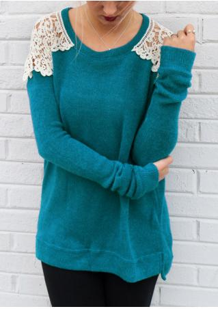 O-Neck Lace Long Sleeve Casual Sweater