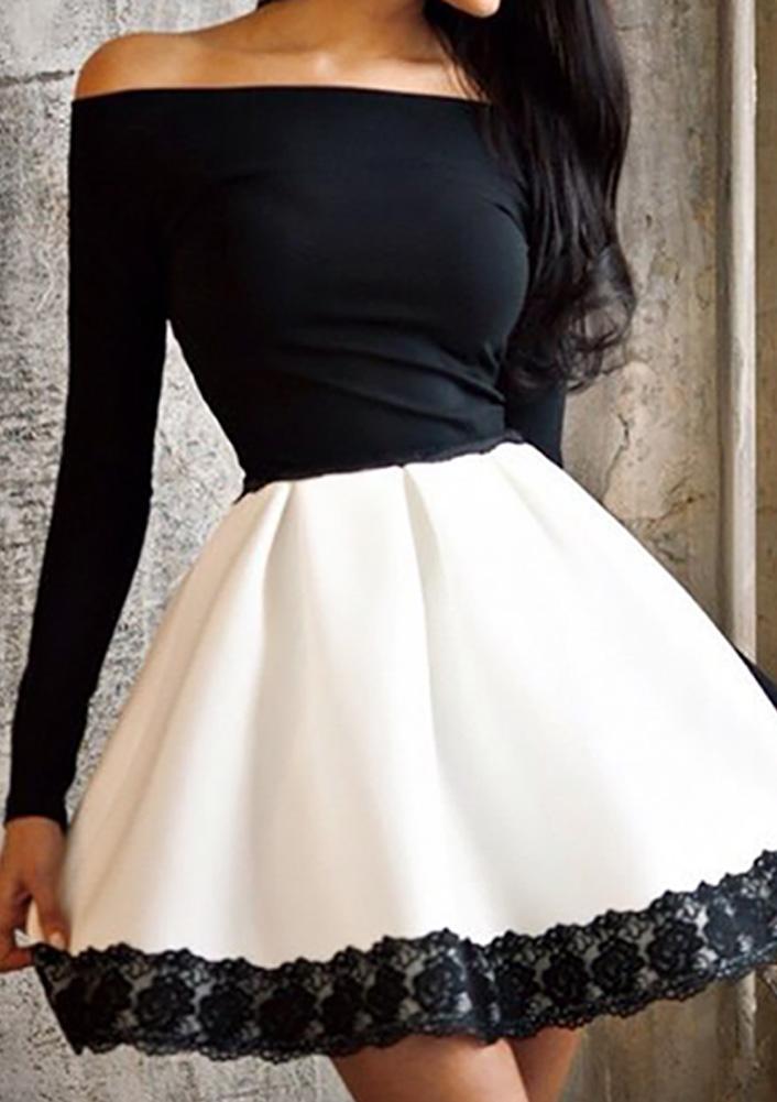 Off Shoulder Lace Long Sleeve Mini Dress - Bellelily