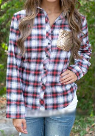 Checker Sequin Long Sleeve Casual Shirt