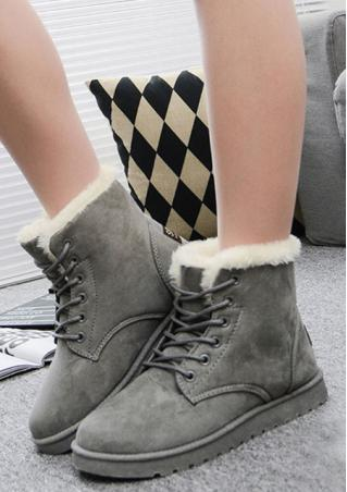 Fur Lace-up Flat Shoes Snow Boots