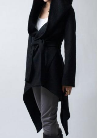 Hooded Swallow Tail Long Sleeve Coat