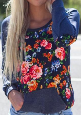 Floral Splicing Pocket Casual Sweatshirt