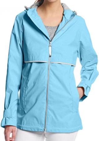 Zip Up Hoodie Solid Rainproof Jacket