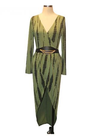 V-Neck Slit Long Sleeve Sexy Dress