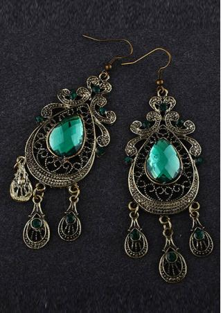 Classic Green Rhinestones Earrings