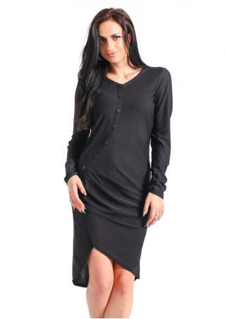 Solid Button Ruffled Mini Dress