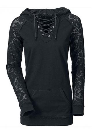Lace Pocket Splicing Cross Bandage Sweatshirt
