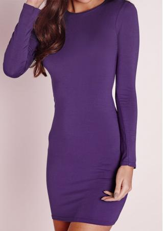 Bodycon O-Neck Long Sleeve Mini Dress