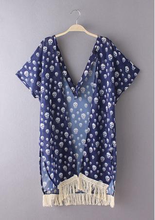 Skull Tassel Chiffon Casual Kimono