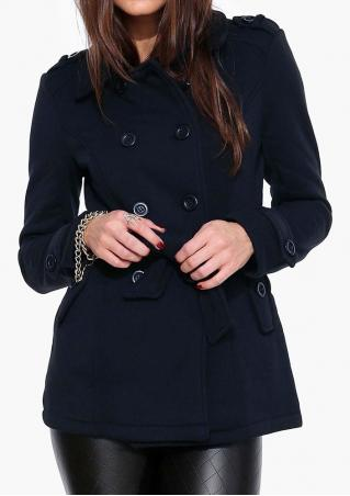 Double-Breasted Solid Belt Coat