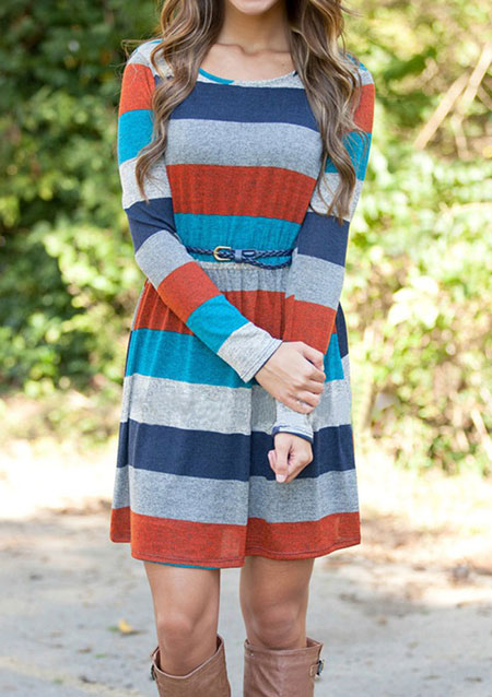 Striped Splicing Casual Mini Dress Without Necklace 59805