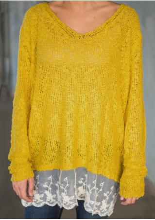 Lace Splicing Knitted Casual Sweater