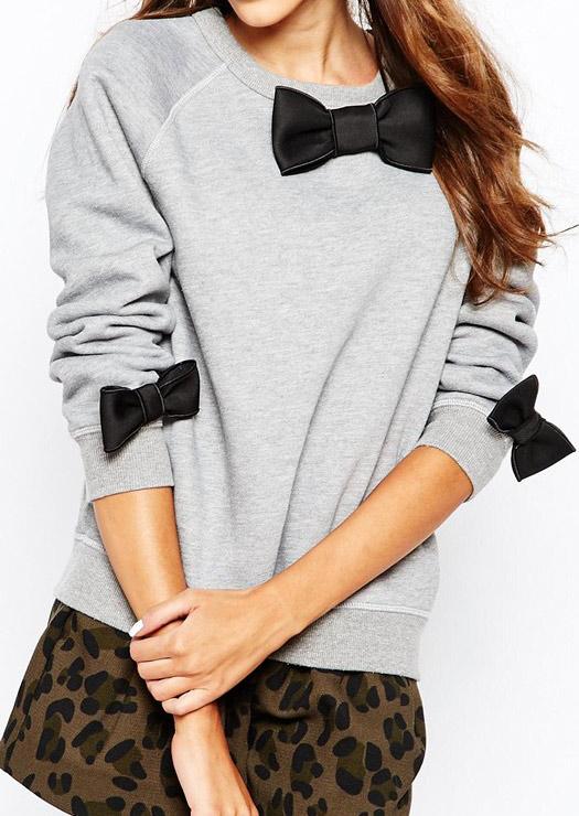 bowknot casual long sleeve sweatshirt