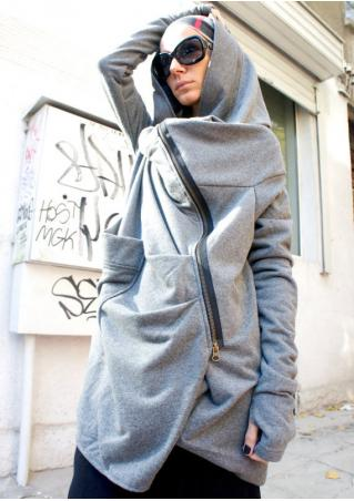 Pocket Hooded Zipper Irregular Casual Hoodie