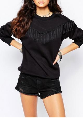 Solid Tassel Casual Long Sleeve Sweatshirt