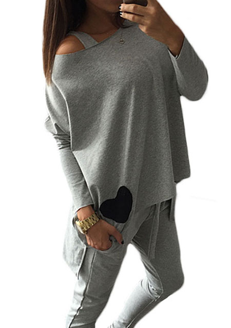 heart off shoulder irregular casual blouse